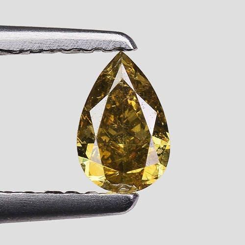 0.39cts Loose Greenish Brown Pear Natural Loose 0.39cts Diamond