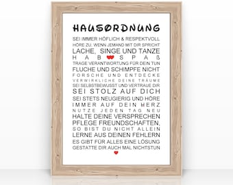 HAUSORDNUNG Poster A4 Kunstdruck Plakat Wand Bild Spruch Familie Zitat Zimmer