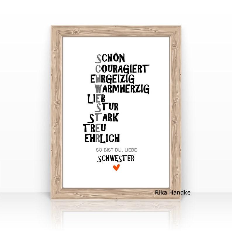 Druck Spruch Schwester Geschenk Spruche Poster Etsy