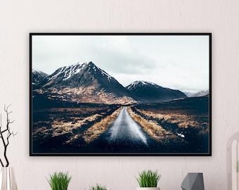 MOUNTAIN ROAD PRINT - Glen Etive Scotland Landscape Photograph Highland Wall Art from Glencoe