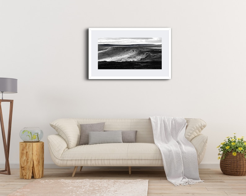 Peak District Print Stanage Edge Panoramic Black and White Landscape Photography Climbing Outdoor Sheffield Wall Art Derbyshire Framed