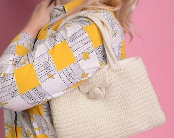 1970s White Crochet Handbag