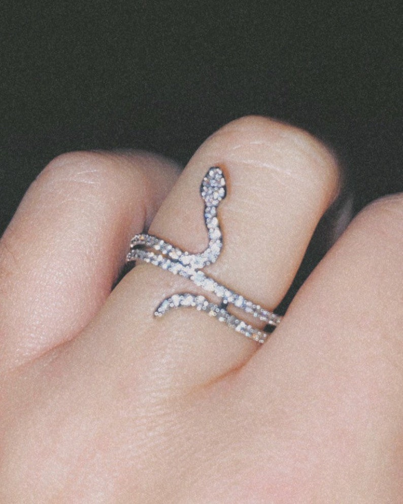 Silver Plated CZ Crystal Snake Ring
