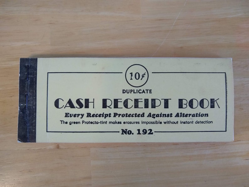 Vintage Cash Receipt Book