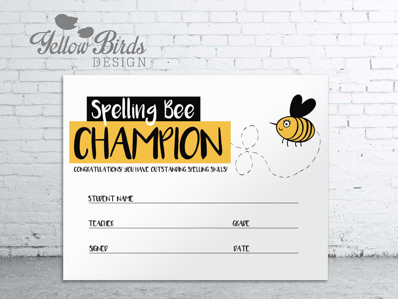 Spelling Bee Certificate Spelling Bee Teachers Printables Etsy
