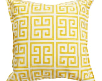 Outdoor / Indoor Yellow and White Greek Key Cushion Cover