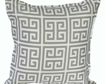 Outdoor / Indoor Grey and White Greek Key Cushion Cover