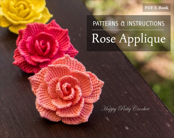 Crochet Rose Pattern Crochet Flower Pattern For A Rose Etsy