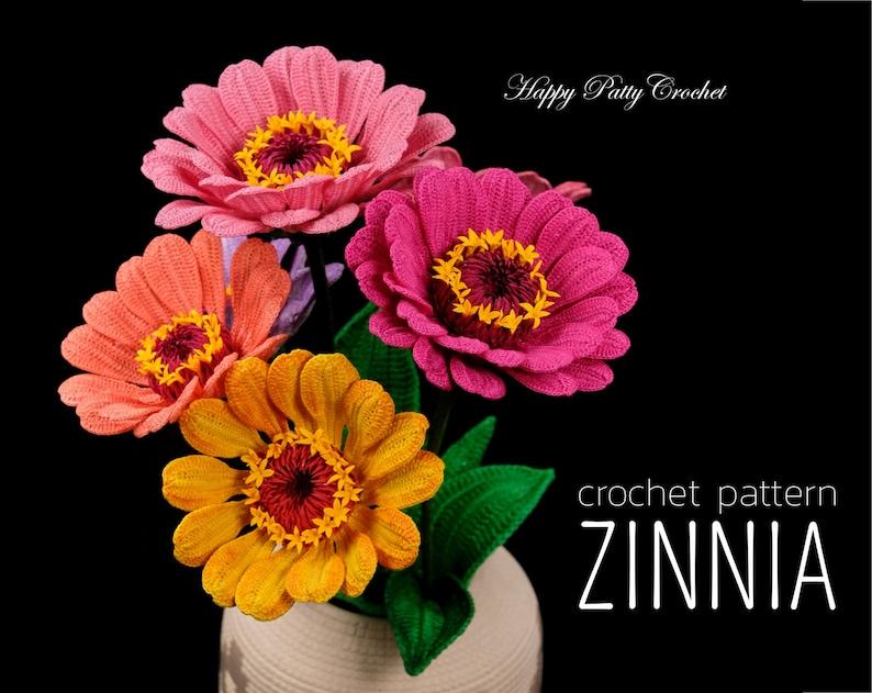 Crochet Pattern for a Zinnia Flower  Flower Pattern for a image 0