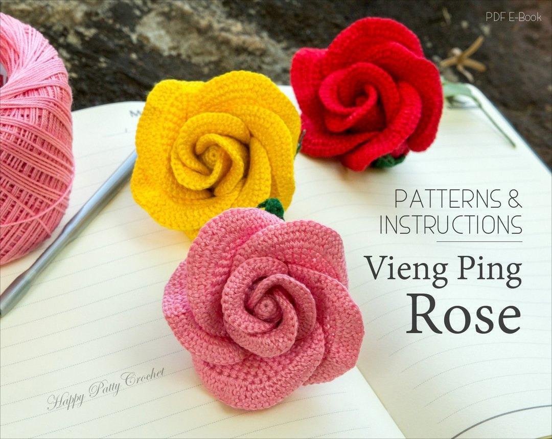 Crochet Rose Pattern Vieng Ping Rose Easy Crochet Flower Etsy