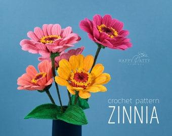 Crochet Zinnia Pattern - Crochet Pattern for a Zinnia Flower