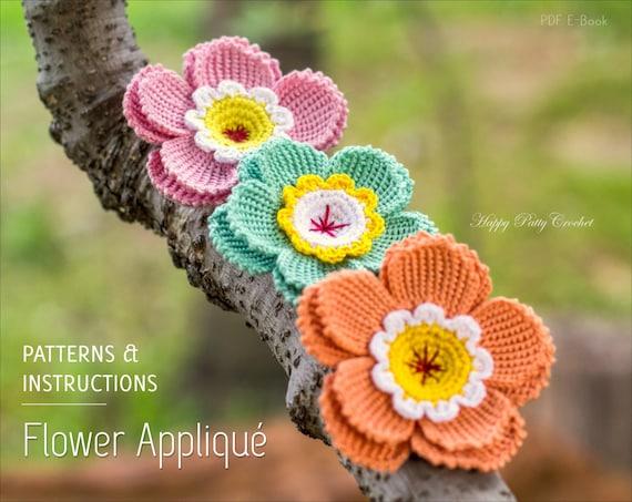 Crochet Flower Pattern Crochet Flower Applique Hat Etsy