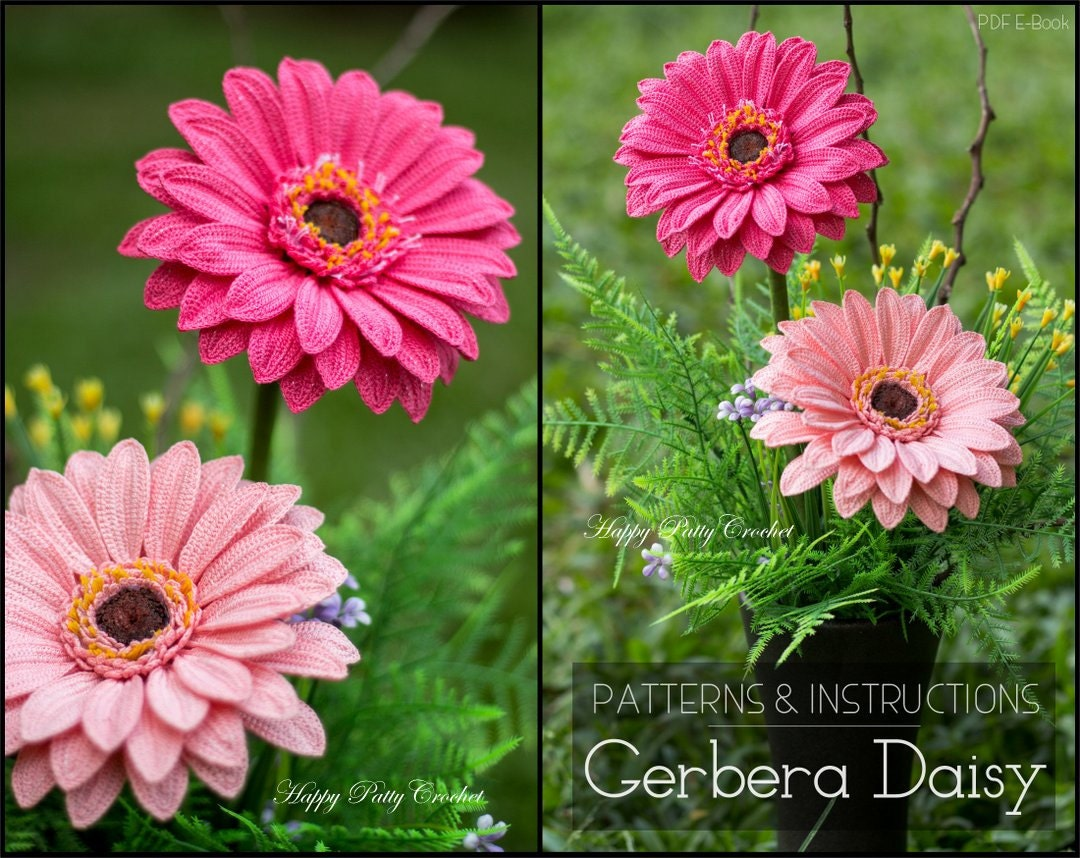 Crochet Flower Pattern Crochet Gerbera Pattern Crochet Etsy
