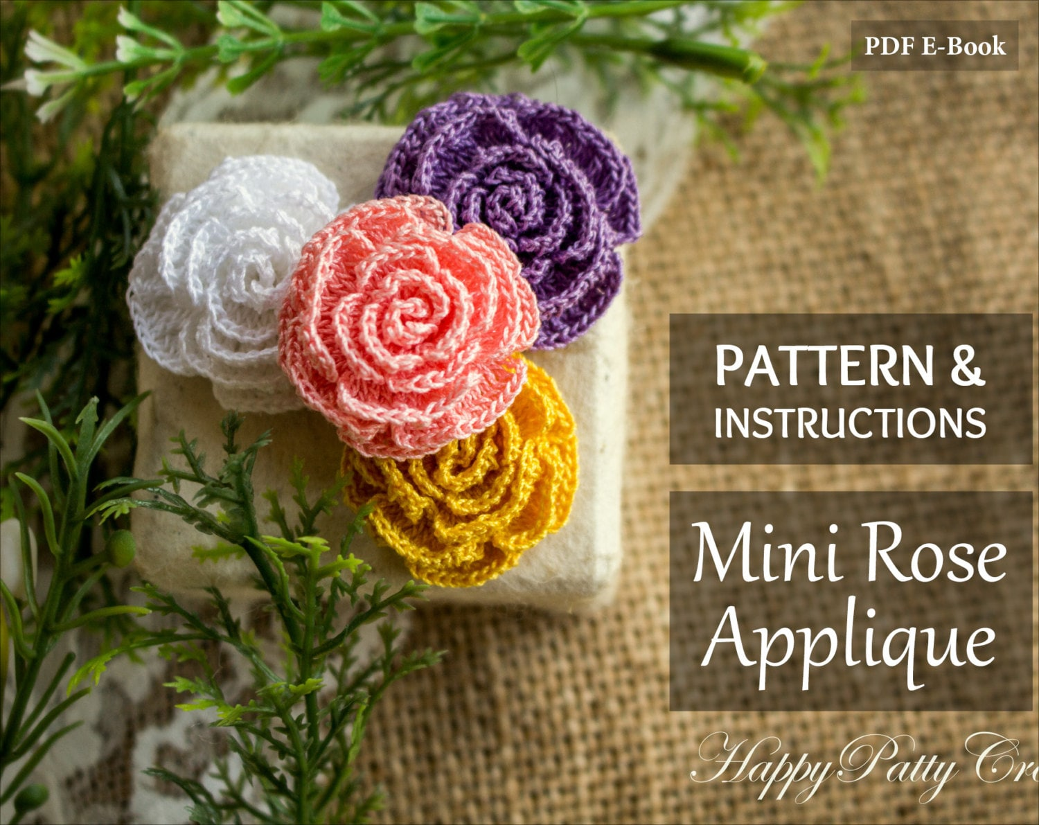 Mini Crochet Rose Pattern and Instructions - Mini Rose Applique ...