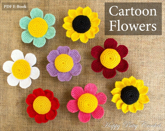 Cartoon Flowers Patterns Crochet Daisy Sunflower And Rose Etsy
