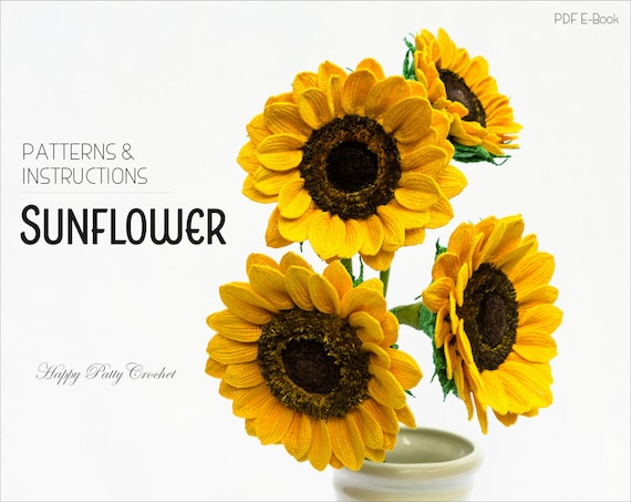 Crochet Sunflower Pattern Crochet Flower Pattern For Flower Etsy