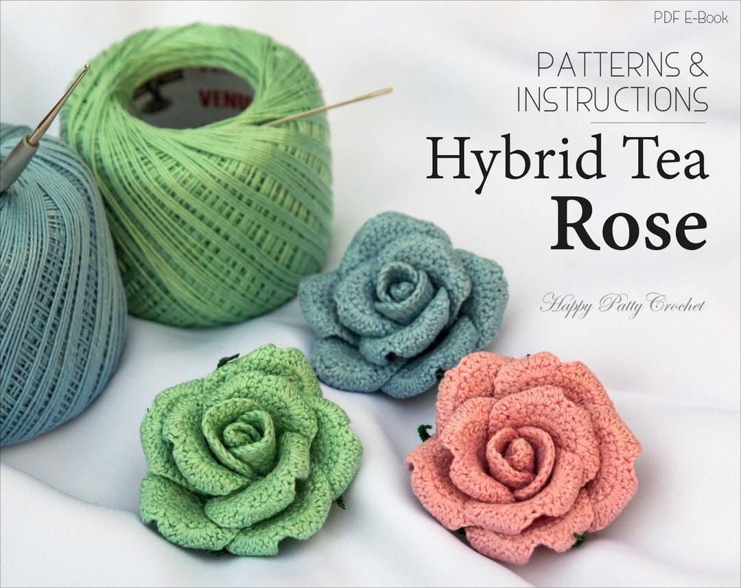 Crochet Flower PATTERN Crochet Rose Pattern Crochet