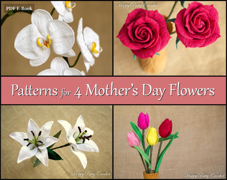 Crochet Patterns Bundle Mothers Day Flowers Crochet Etsy