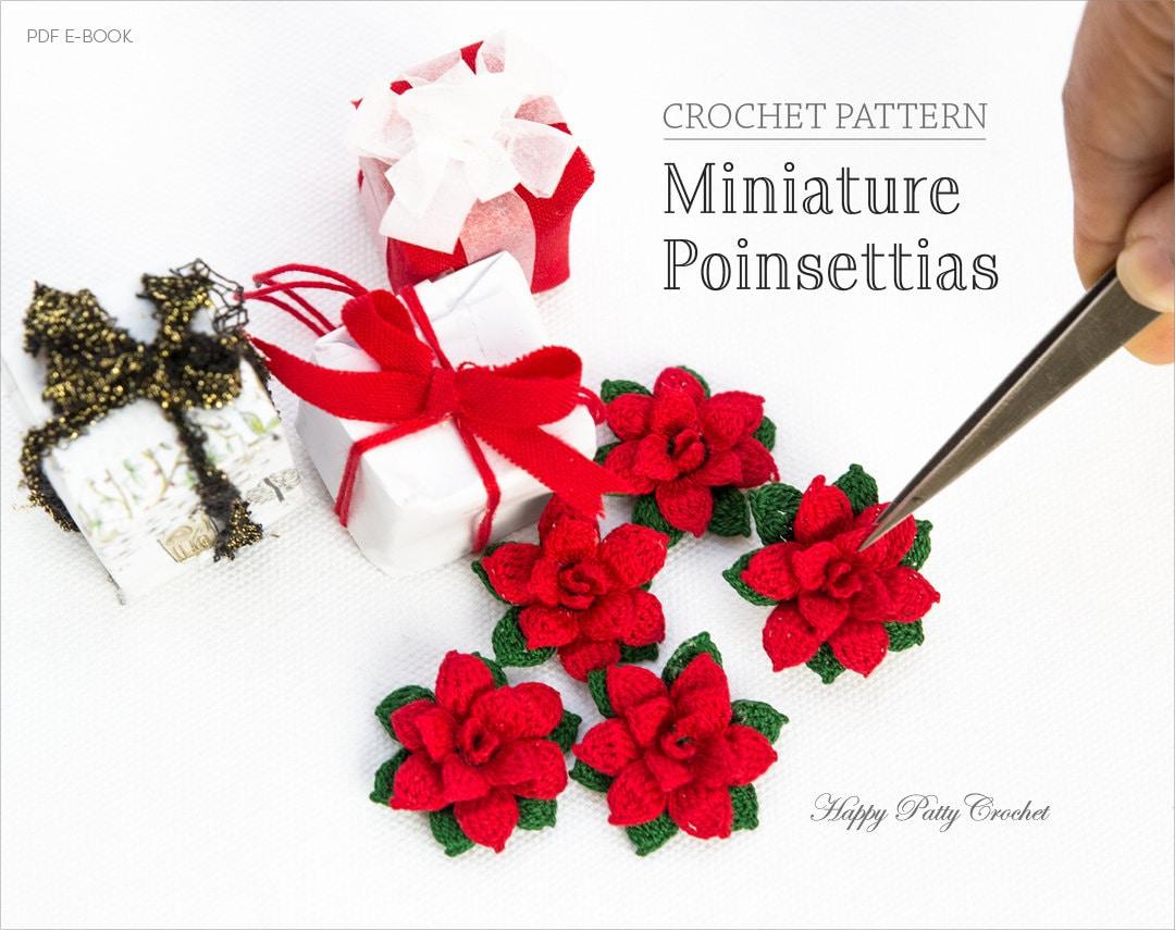 Mini Crochet Poinsettia Pattern Crochet Flower Pattern For Etsy