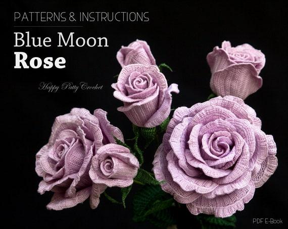 Crochet Rose Pattern - Blue Moon Rose Crochet Flower Pattern - Crochet  Pattern for Decor and Arrangements
