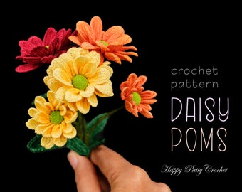 Crochet Flower Pattern for a Daisy Pom - Crochet Daisy Pattern