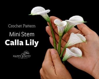 Crochet Pattern for a Mini Stem Calla Lily Flower - Crochet Flower Pattern for a Miniature Calla Lily