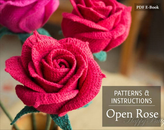 Crochet Rose Pattern Crochet Pattern For Wedding Bouquets Etsy