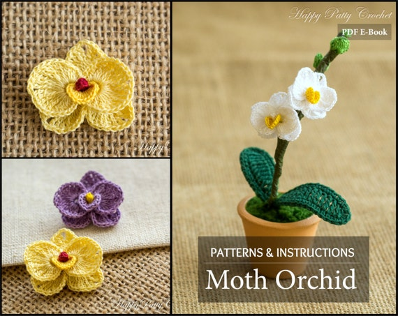 Mini crochet orchid pattern crochet flower decoration easy etsy like this item ccuart Images