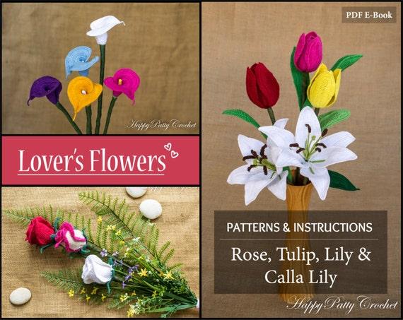 Crochet Pattern Bundle Lovers Flowers Crochet Flower Etsy