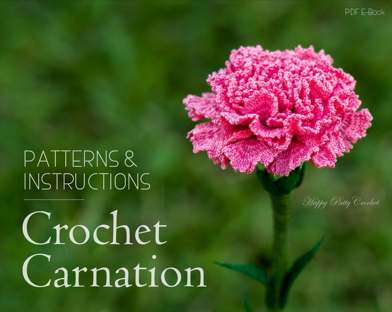 Crochet Flower Pattern  Croche Carnation Pattern  Carnation image 0