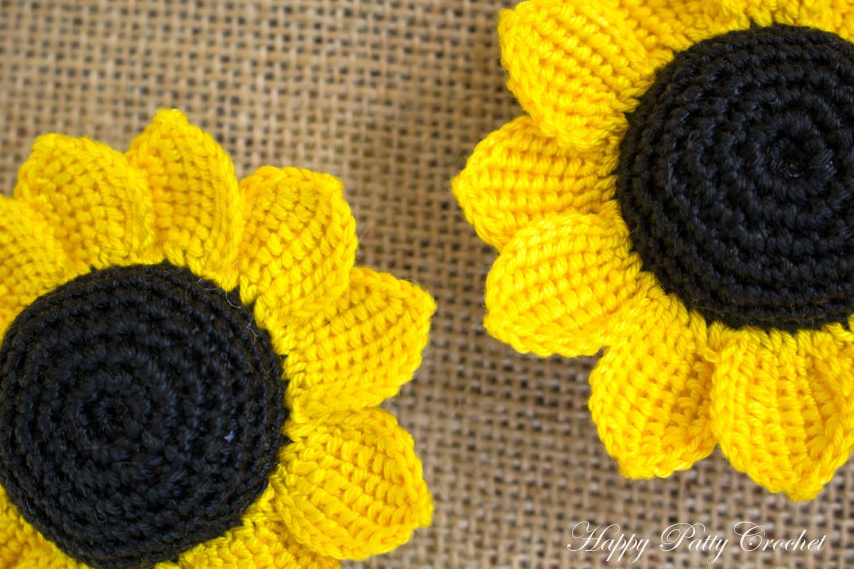 Cartoon crochet sunflower pattern three crochet flowers etsy izmirmasajfo
