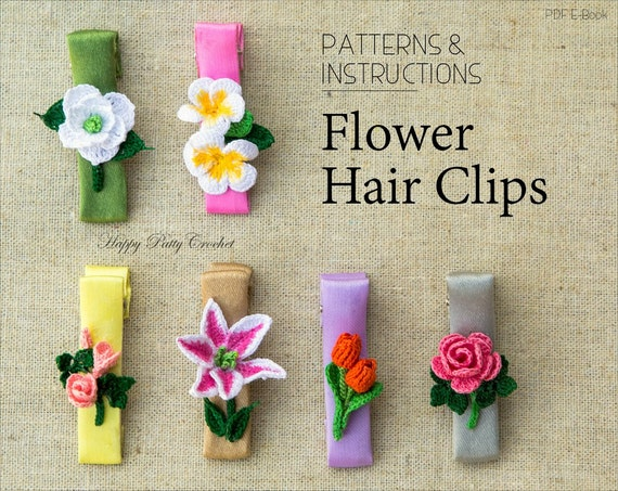 Crochet Hair Clips Pattern Collection Crochet Baby Hair Etsy
