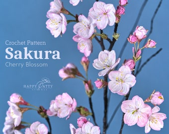 Sakura Crochet Pattern - Crochet Flower Pattern for a Cherry Blossom Flower