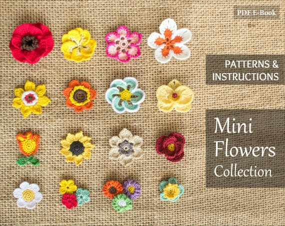 Instant Download 16 Crochet Flowers Patterns Bundle Rose Etsy