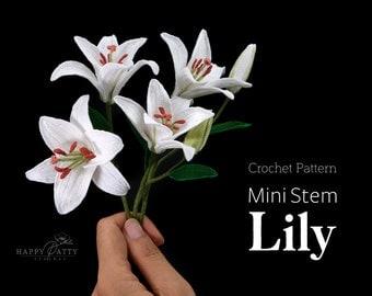Mini Stem Lily Crochet Pattern - Crochet Flower Pattern for a Miniature Tulip