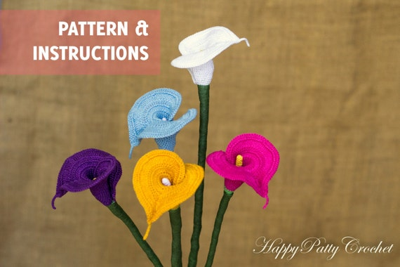 Crochet Bouquet Lily Pattern And Instructions Calla Lily For Etsy