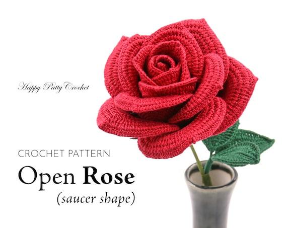 Crochet Rose Pattern Crochet Flower Pattern For An Open Etsy