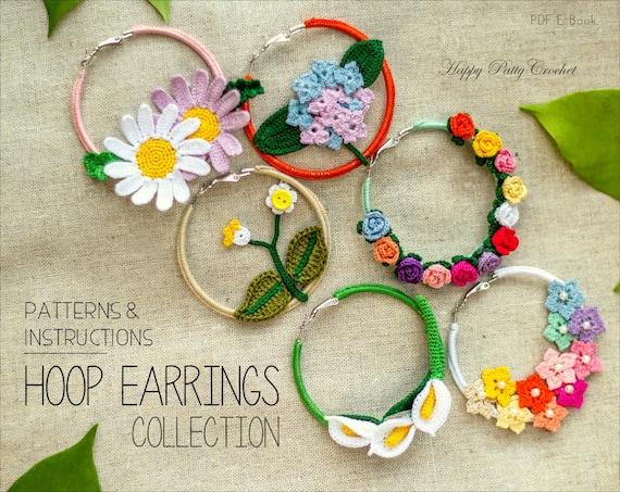 Crochet Earrings Pattern Collection Crochet Hoop Earrings Etsy