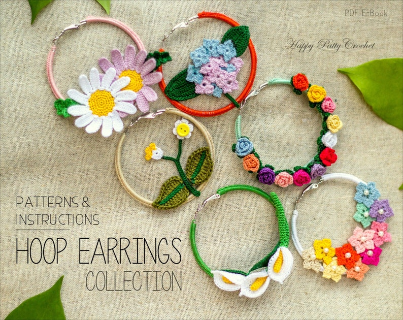 Crochet Earrings Pattern Collection Crochet Hoop Earrings Etsy
