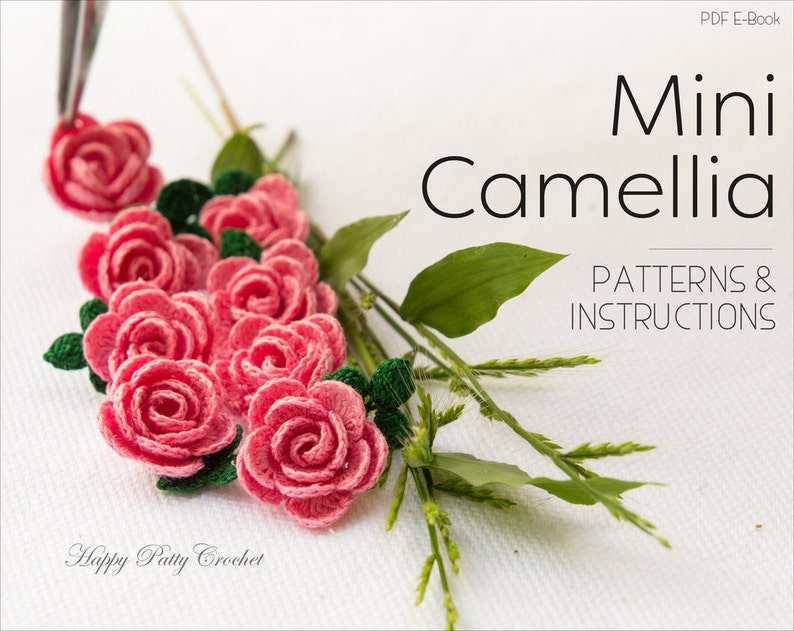Mini Crochet Camellia Flower Pattern   Crochet Flower Pattern image 0
