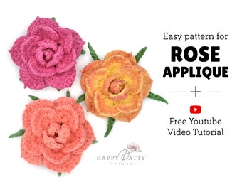 Crochet Pattern for an Easy Rose Applique - To go with a free YouTube Video Tutorial