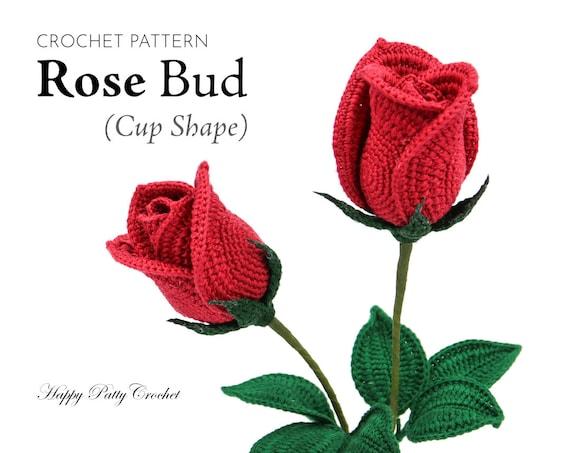 Crochet Rose Pattern Half Open Rose Bowl Shape Crochet Etsy