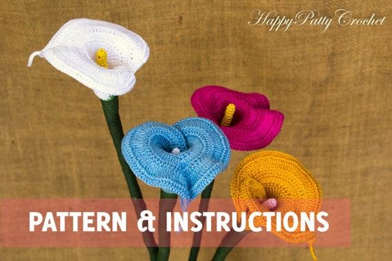 Crochet Calla Lily Pattern And Instructions Crochet Flower Etsy