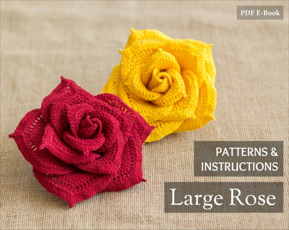 Instant Download Crochet Flower Pattern Crochet Rose Etsy