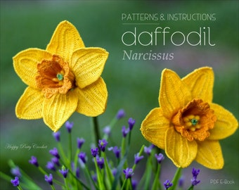 Crochet Daffodil Pattern - Crochet Flower Patter - Crochet Narcissus Flower Pattern - Daffodil Flower Pattern - March Birth Month Flower
