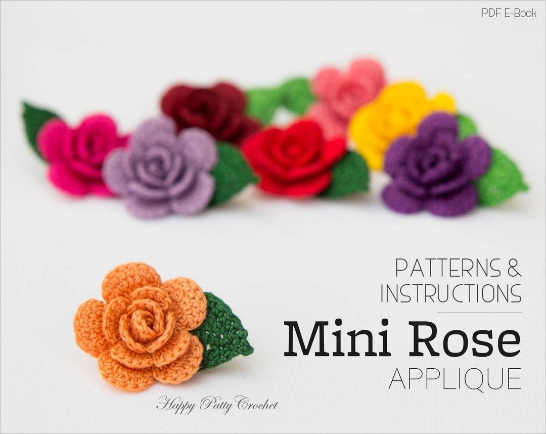 Crochet Mini Rose Pattern Crochet Flower Applique Pattern Etsy