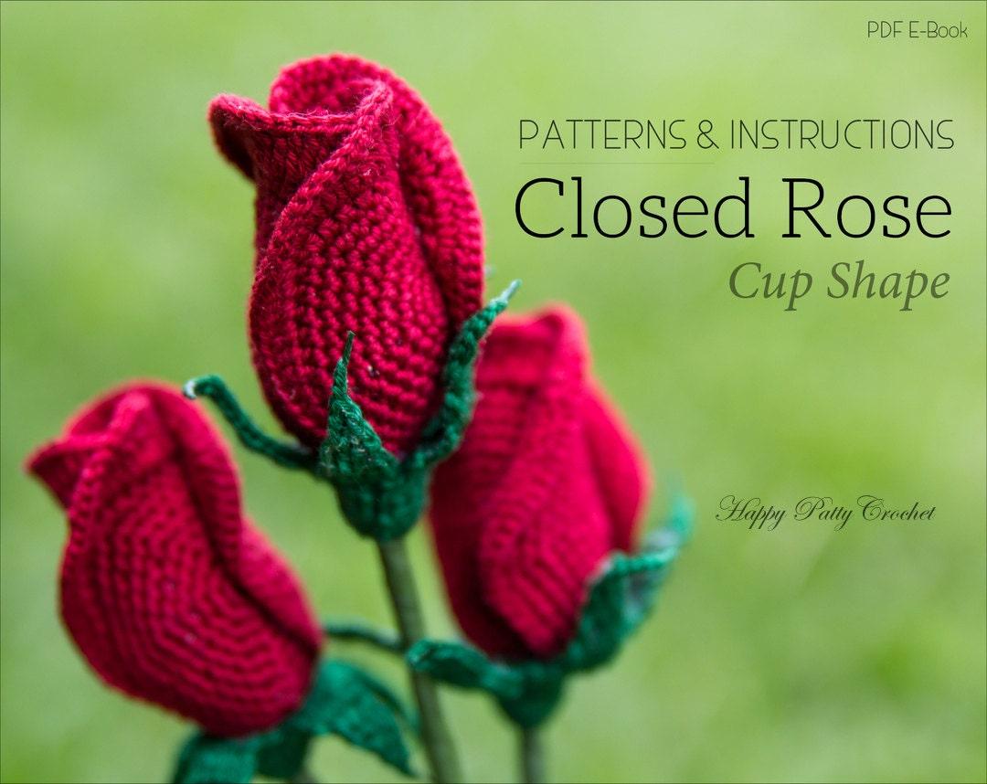 Crochet Rose Pattern Closed Rose Crochet Flower Pattern Etsy