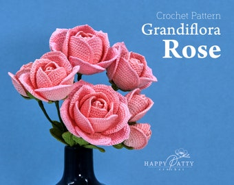 Crochet Rose Pattern for a Grandiflora Rose - Crochet Flower Pattern for Rose flowers