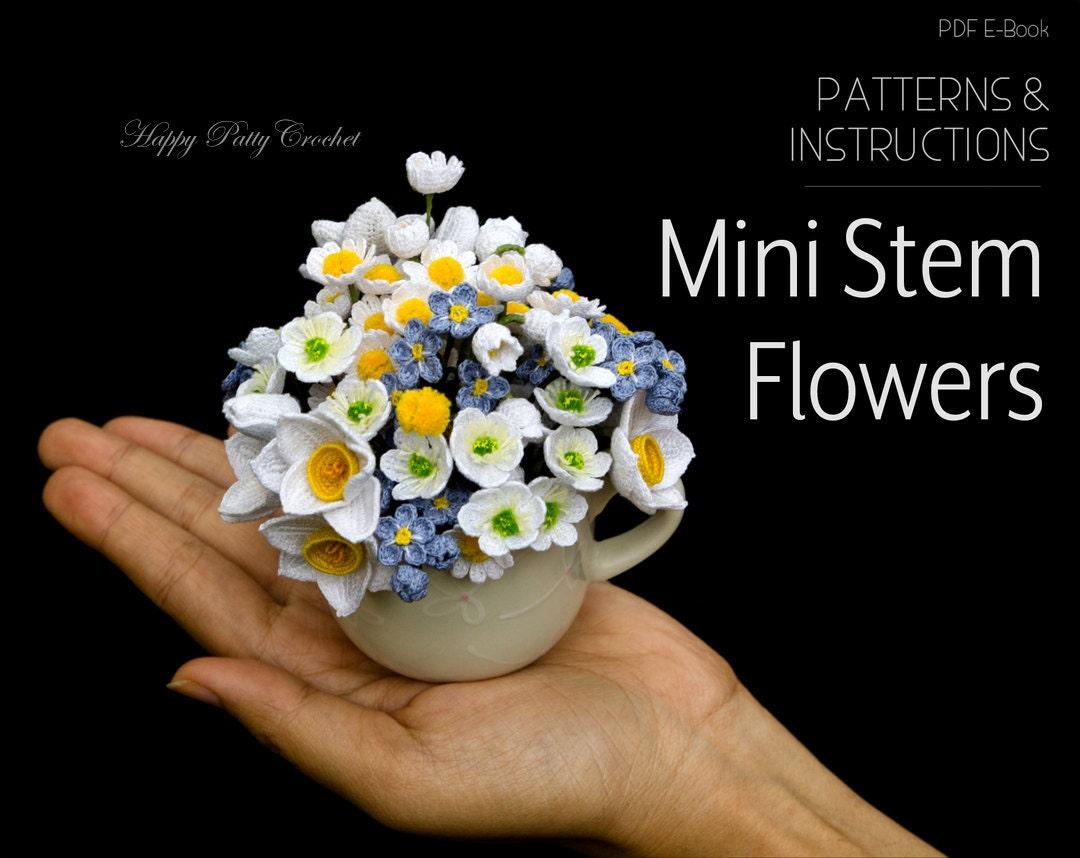 Crochet Flowers Patterns Pack Mini Stem Flowers Crochet Etsy