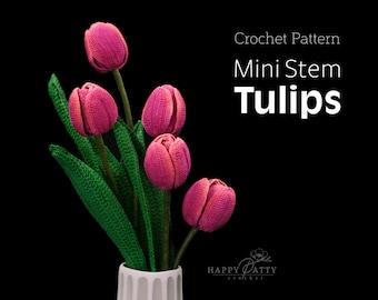 Crochet Pattern for a Mini Stem Tulip Flower - Crochet Flower Pattern for a Miniature Tulip